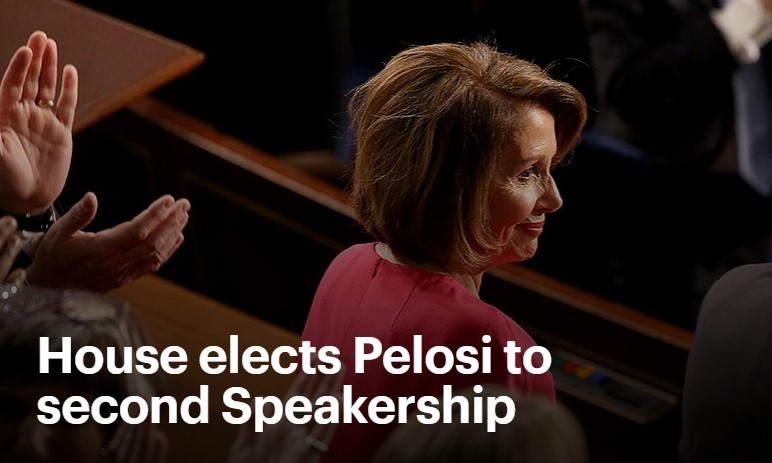 Nancy Pelosi was elected speaker of the House of Representatives