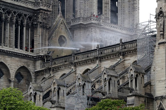 How does Notre Dame Cathedral look like after a severe fire