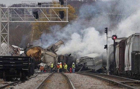 In the US derailed train with ethanol