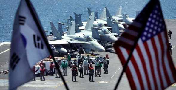 South Korea and the United States conduct joint air force maneuvers on a reduced scale