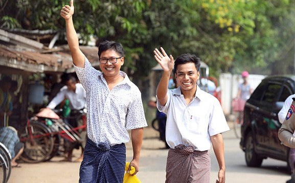 Two Reuters journalists released on parole in Myanmar