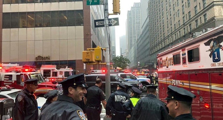 The helicopter crashed into a building in the center of Manhattan
