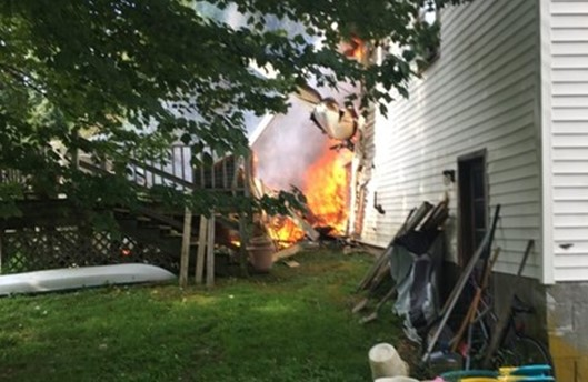 The plane crashed into a house in the United States
