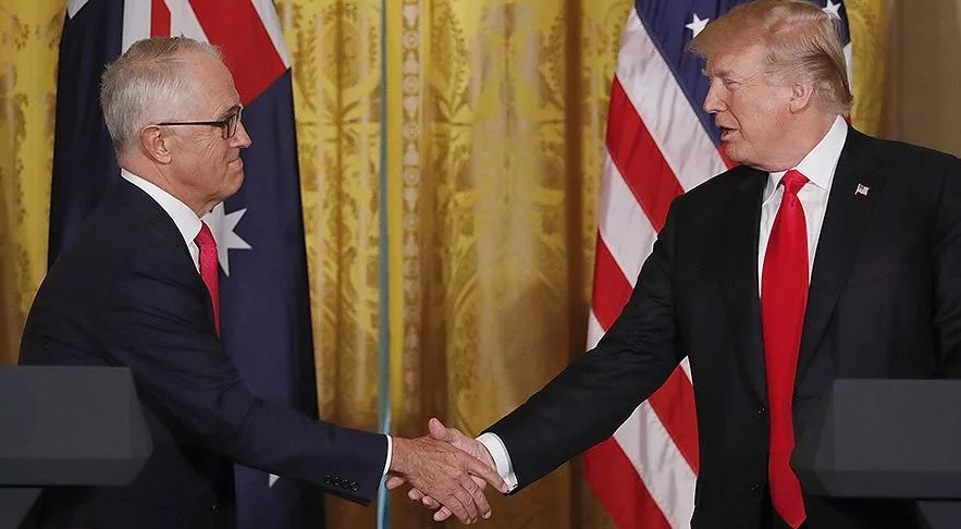 Australian Prime Minister arrives on a government visit to the US