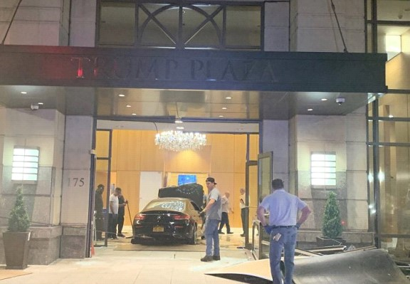 The car drove into the lobby of the Trump Plaza tower in New York State