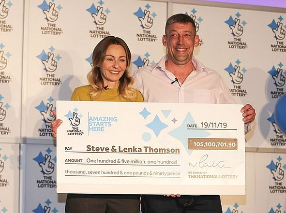In the UK, the builder won the lottery 105 million pounds