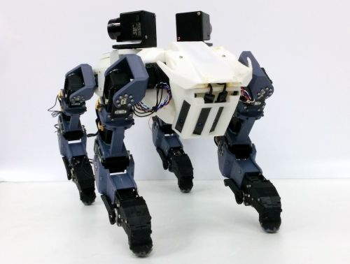 The new four-legged robot is able to climb the vertical ladder and take vertical obstacles