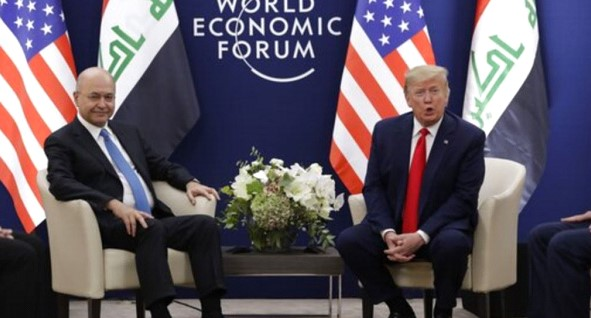 Trump and Saleh in Davos discussed reducing the number of foreign troops in Iraq