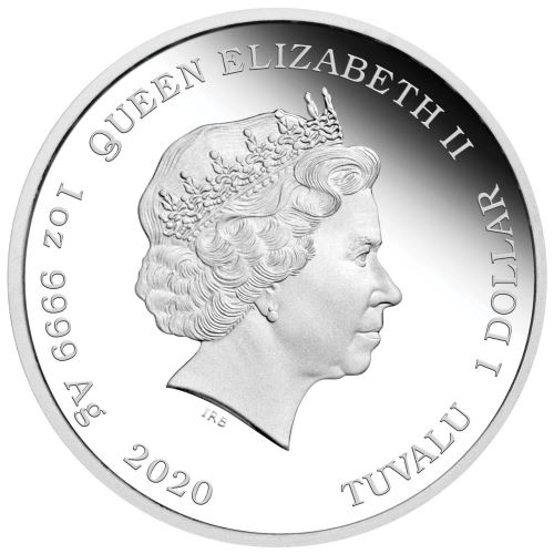 Revers side of Tom and Jerry's silver coin with Her Majesty Queen Elizabeth II