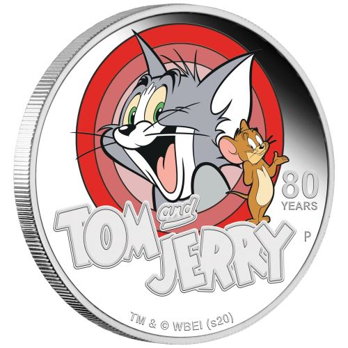 Silver coin issued on the occasion of the 80th anniversary of Tom and Jerry