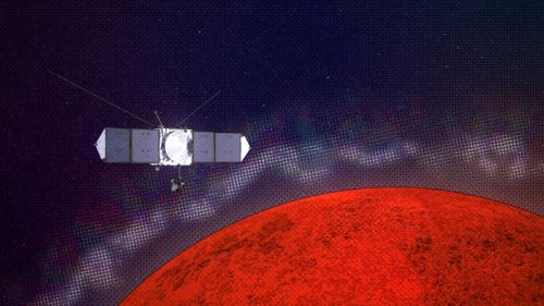 "MAVEN research spacecraft discovered layers and ""reefs"" in the upper atmosphere of Mars"