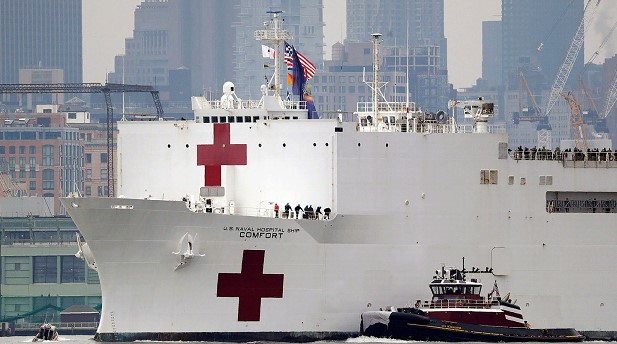 A hospital ship with 1,000 beds arrived in New York