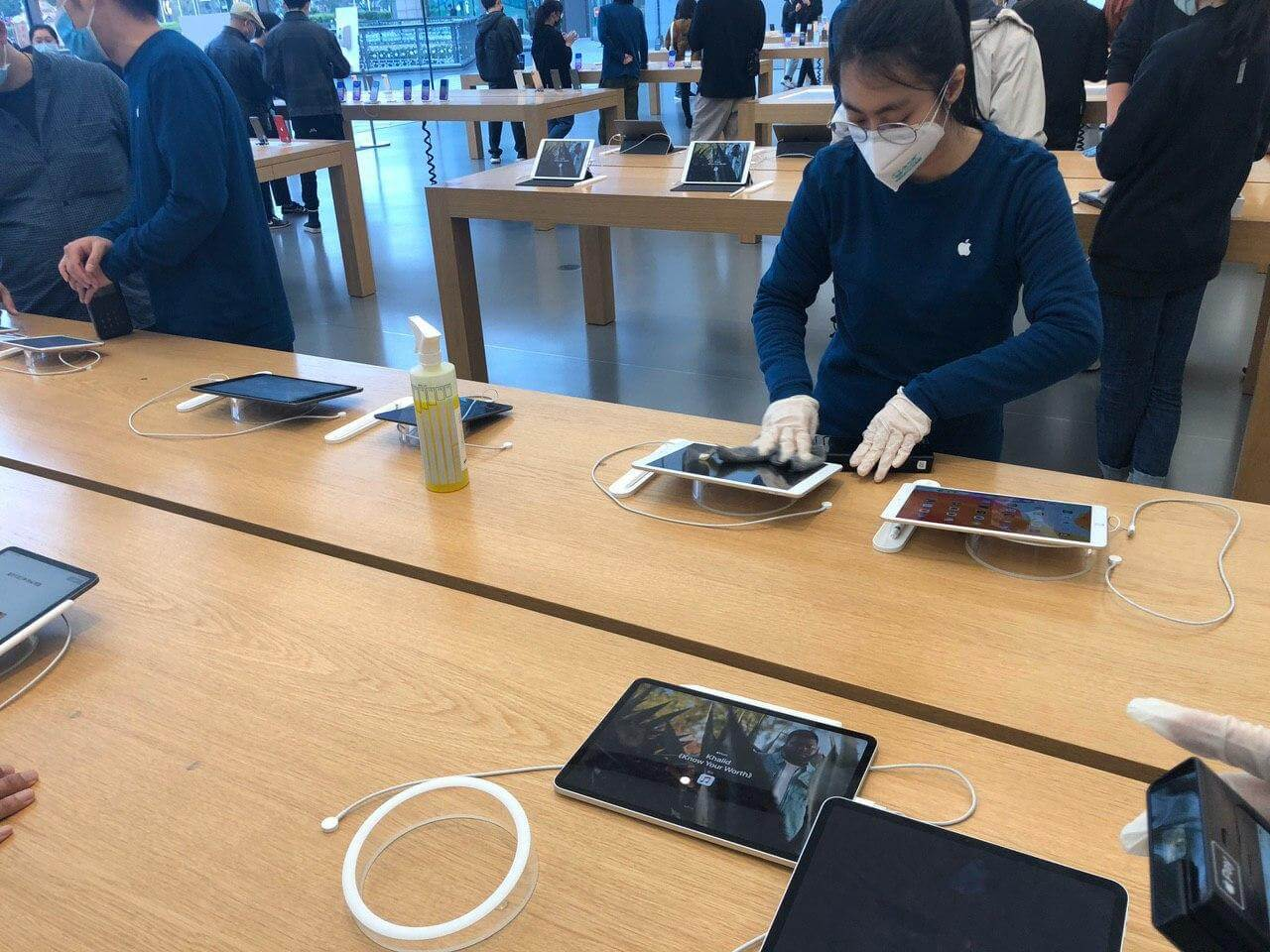 After each visitor, the devices they touch are treated with a disinfectant solution
