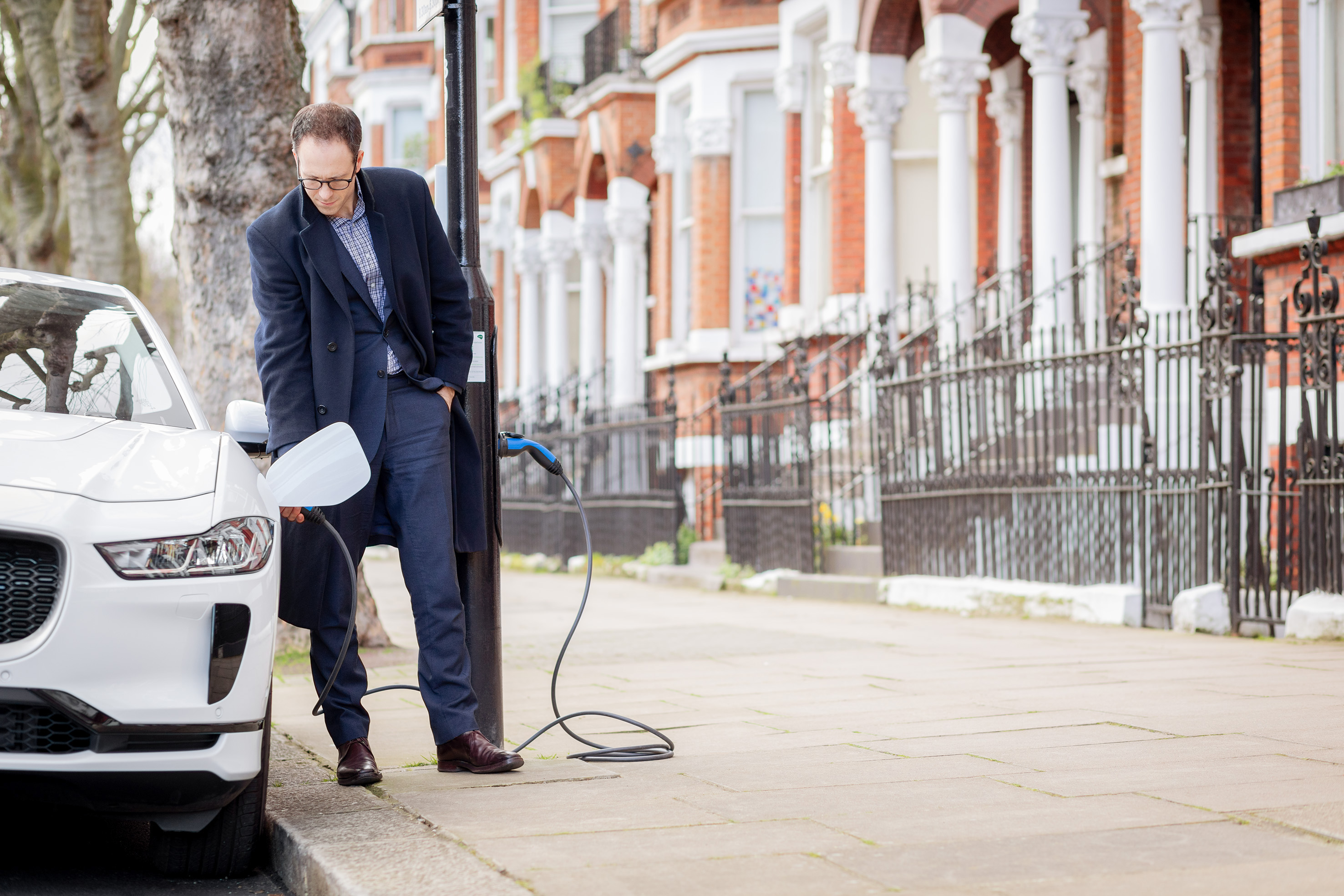 In London, a street appeared where from each lamp you can charge an electric car