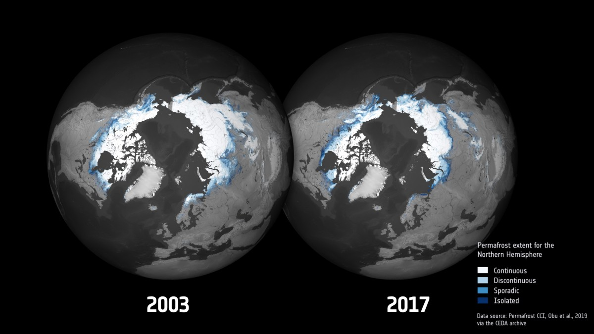 A new permafrost melting map appeared from 2013 to 2019