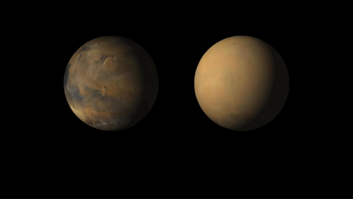 Mars in 2018 before the global dust storm and in the process
