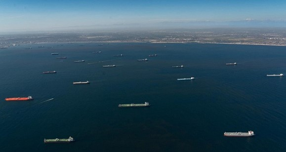 A record number of oil tankers have accumulated off the coast of the United States