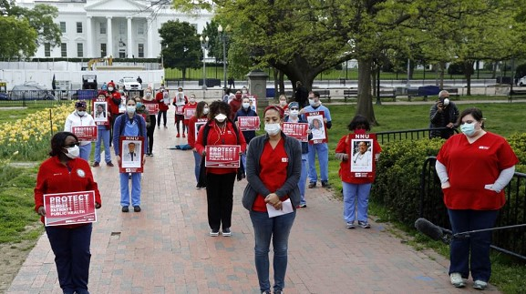 Nurses held a protest outside the White House