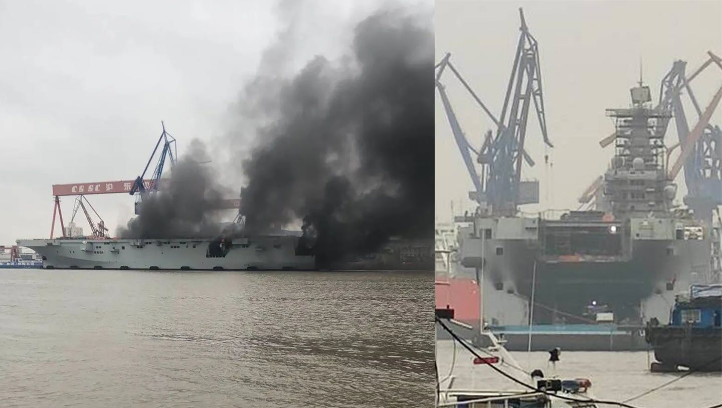 A fire broke out on one of the largest Chinese warships