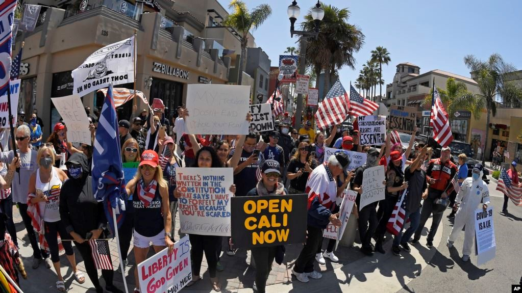 A protest against the quarantine was held in California
